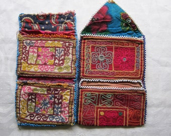 2 Antique Textiles, Embroidered and Beaded Purses, Pakistan - Antique Purses/Wallets, Embroidery
