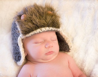 Aviator hat trappers hat baby boy photo prop newborn aviator hat baby aviator hat baby shower gift crocheted baby hat