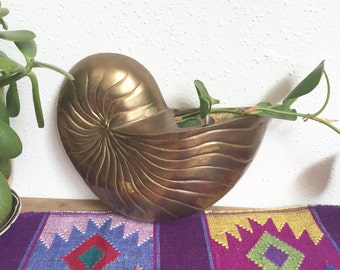 Vintage Brass Shell Wall Planter