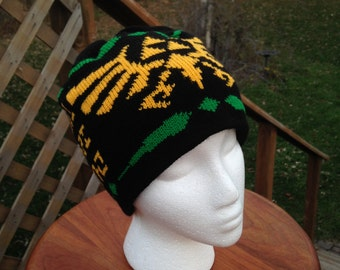 Triforce Beanie Hat: Medium, Black, Yellow, and Green