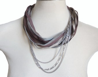 Genuine Leather Necklace, Grey Brown Taupe and Silver Chain, Leather Jewelry, String Statement Necklace