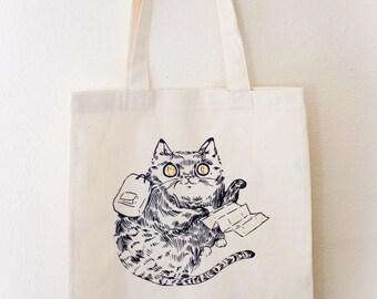 Adventure Cat Tote- screenprinted cotton tote bag