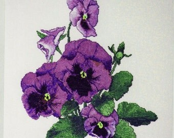 The Silver Lining Cross Stitch Chart, Peekaboo, Pansies, Marc Saastad, Gorgeous Purple Pansy