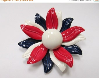 ON SALE Vintage 3D Red White and Blue Enameled Flower Pin Item K # 1700