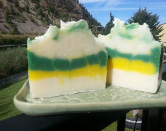 Sage and lemongrass scented lard cold process soap