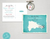 Destination wedding invitation Dominican Republic Punta Cana Save the Date Postcard Beach destination wedding Printed Wedding Stationary