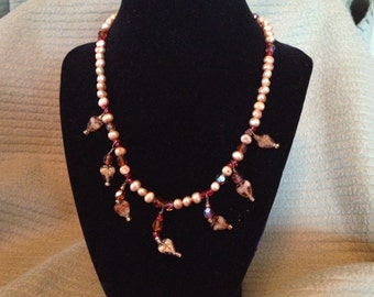 Vintage 925 Sterling Silver Necklace with Red and Tan Beads and Leaf Accents, Length 16''