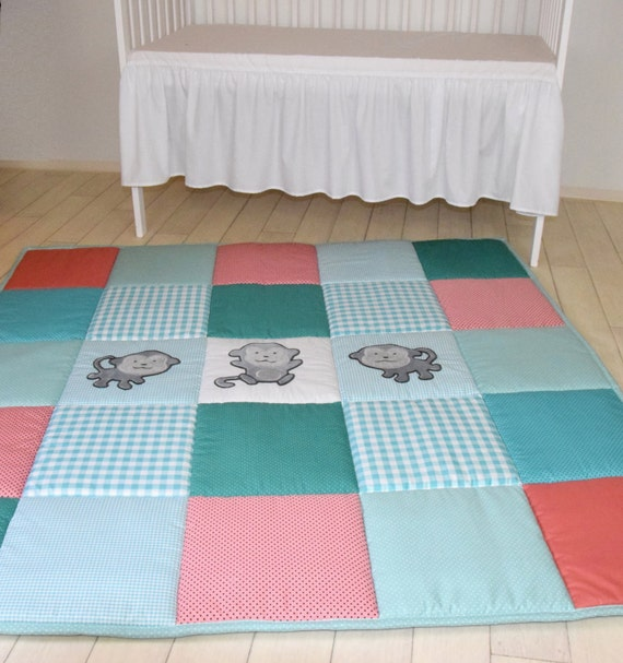 Baby Play Mat, Monkey Playmat,  Baby Rug,  Baby Activity Mat, Coral, Teal, Turquoise