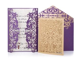Die Cut Custom Luxury Invitations - DieCut Gold/Purple and Ivory Metallic Double Sided Invitation - Metallic Invitations by InviteCouture