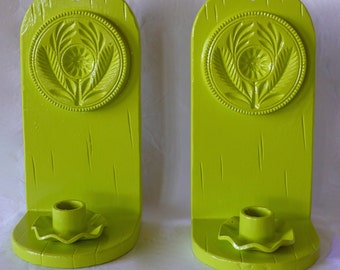 Vintage Cast Iron Candle Holder  Pennsylvania-Dutch Style German Wall Sconce Bookends Green
