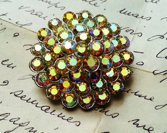 Vintage Sparkling Aurora Borealis Brooch is Rainbow Bright 50s-60s Round Retro Pin is Very Dapper