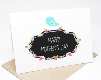 Mother's Day Card - Happy Mother's Day - Blue Bird on Floral Signage - HMD013 - Pink, Green, Brown