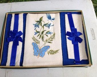 Vintage Blue Butterfly Decorative Towel Set