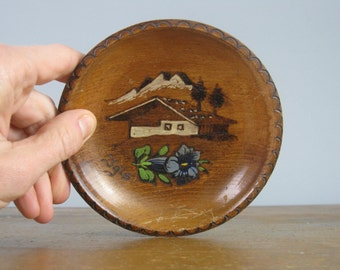 vintage Austrian cabin souvenir bowl / hand made / folk art / Alpine wildflower / ski lodge / log cabin decor / *342
