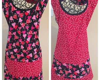 Reversible Hearts & Arrows Womens' Full Apron; Reversible Full Apron; Misses Apron; Plus Size Apron; One Size Fits Most (Ready to Ship)
