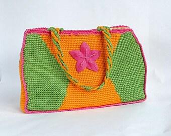 PDF tunisian crochet pattern FLOR del VALLE bag