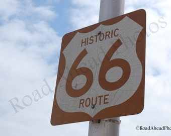 5 x 7 matted photograph, Route 66, Oklahoma road sign photography