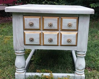 Sea Foam Green & Gold Solid Wood Distressed End Table/ Accent Table w/ Dovetail Drawer Shabby Chic