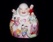 Vintage Porcelain Buddha Family, Baby, Good Luck, Home Decor, Antique Alchemy