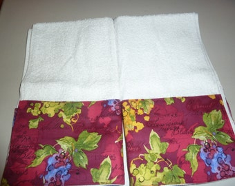 Colorful Wine Lovers Decorative Autumn Hand Towels (Set of 2), Cabernet Hand Towels