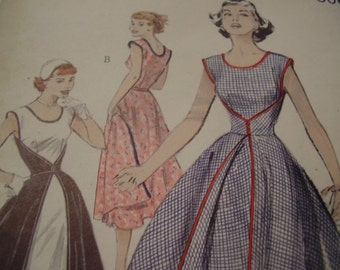 Vintage 1950's Butterick 6015 Wrap Dress Sewing Pattern, Size 14, Bust 32
