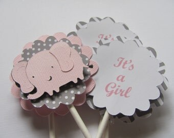 Its a Girl and Pink Elephant Cupcake Toppers, Set of 12