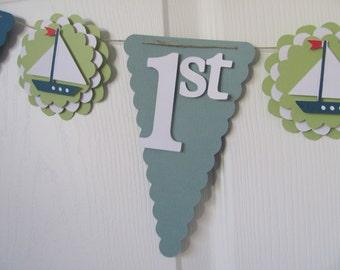 Nautical Birthday Banner, Boys Birthday Decorations, Sail Boat Banner, Birthday Decorations