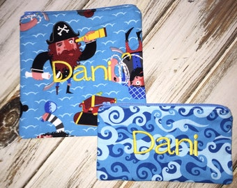 Set of 2 Pirate Print (Optional Personalization) Reusable Sandwich and Snack Bags with Zipper Closure