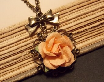 Bronze and Orange Paper Rose Necklace