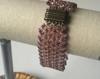 Pink and Purple Herringbone SuperDuo Beaded Bracelet OOAK