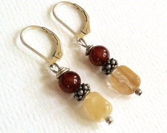Red and Cream Beaded Earrings On Sterling Silver Leverbacks