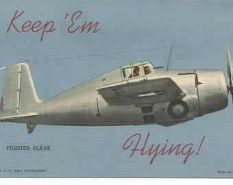 Vintage 1940's WWII Keep'Em Flying Naval Airplane Postcard