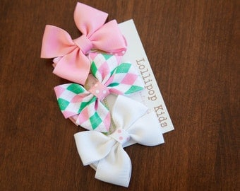 Hair Bow Set  Hair Clips Pink Green White Bow Set Baby Hair Clips Kids Hair Clips Kids Hair Clips