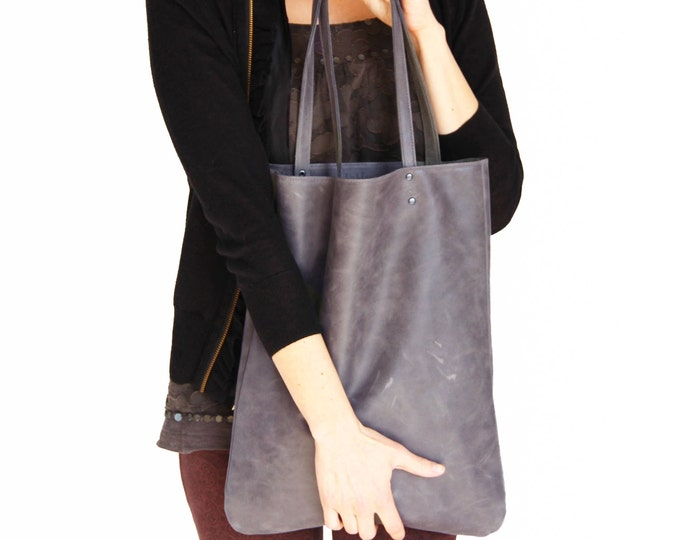 Distressed grey leather tote, women leather bag