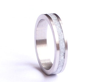 Women's Wedding Band, Stainless Steel Wedding Ring with Crushed White Quartz Inlay
