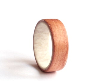 Mens Antler Ring, Women Wedding Ring, Apple Wood Ring,  Natural Wood  Wedding band, Unisex Ring