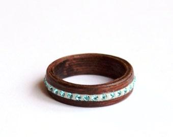 Wood Wedding Band, Turquoise Swarovski Wedding Ring, Women Blue and Wood Ring