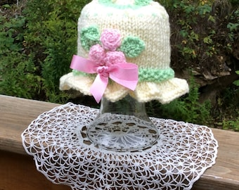 Sweet Bouquet of Pink Roses Baby Hat with Ruffle Brim, 6-12 months