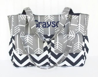 Personalized Diaper Bag in Gray Arrows and Navy Chevron for Boy or Girl 11 Pockets Nappy Bag
