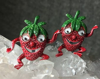 1950's Strawberry Men Googly Eyes Kitchy Brooches