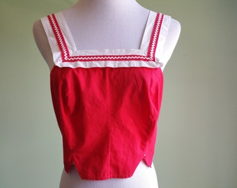 1950s Red & White Crop Top - Vintage 50s 60s Sun top - Small - Rockabilly