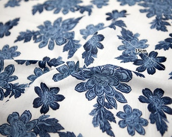 "Flowers Cotton Double Gauze Fabric - White - 62"" Wide - By the Yard 85020"