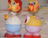 Vintage German Paper Mache Easter Candy Containers 2 Ducks Nodder Spring Neck