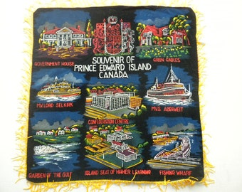 "Vintage 60s Black Velvet Hand Painted Pillowcase with Fringe Souvenir Of Prince Edward Island Canada 14""x 15"""
