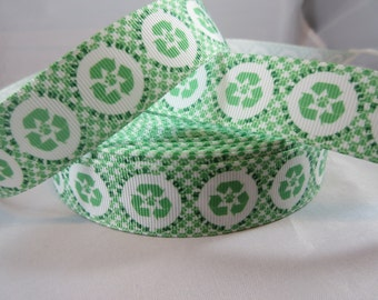 Save the Earth Green recycle symbol Grosgrain Ribbon, Recycle 1 inch Ribbon by the yard, RN14828