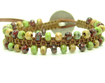 Tribal Beaded Leather Wrap Bracelet, Macrame Mixed Seed Bead Leather Wrap Bracelet, Single Beaded Macrame Wrap Bracelet, Beaded Bracelet