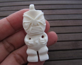 Gorgeous Handmade Tiki God pendant, Tribal pendant , Buffalo  Bone carving, Jewelry making Supplies B5348