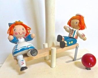 Raggedy Ann/Andy Music Lamp Mechanical Movement, Wooden Nursery Lamp