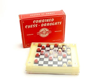 Vintage French Travel Game, Chess Checkers, Celluloid Plastic Game France, Chess Draughts Mid Century Game, With Original Box Epsteam