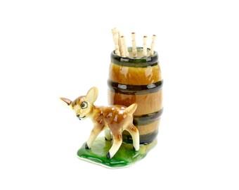 Vintage Deer Toothpick Holder, Bone China, Deer Figurine, Toothpick Holder, Toothpick Jar, Woodland Table, Deer Vase, Epsteam